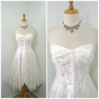 80s Wedding dress Lace Sweetheart strapless Pearl bridal gown Climax by Karen Okada S