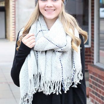 Thick + Cozy Frayed Tassel Edge Scarf {Heather Mix}