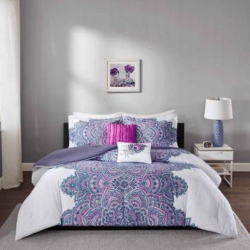 Kasie Moroccan Mandala 5 PC Comforter Bedding SET
