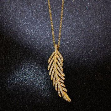 CREYONAY Tiffany Women Fashion Feather Plated Necklace Jewelry