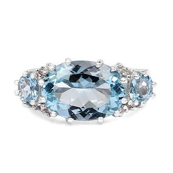 A Special Edition East West 7.12CT Oval Cut Natural Swiss Blue Topaz Ring