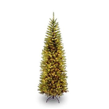 6.5 Foot Narrow Slim Fir Christmas Tree Pre-strung 250 Clear Lights and Stand