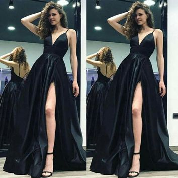Fashion Women V Neck Formal High Side Slit Party Dresses Charming Dress Sexy Strappy Long Maxi Dress Fashion
