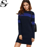 Sheinside Long Sleeve Bodycon Dress Fashion Women Business Casual Clothing Color Block Long Sleeve Sheath Dress