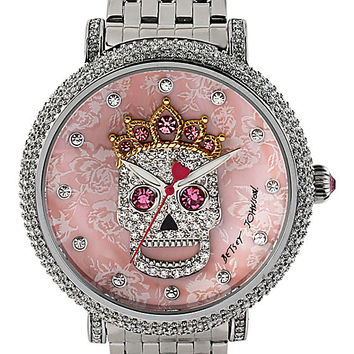 BLING SKULL CROWN WATCH SILVER