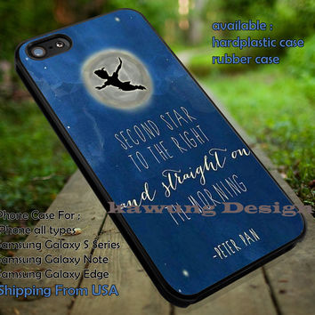 Boy Flying To The Moon Quote, Peterpan, Second Star, Neverland, case/cover for iPhone 4/4s/5/5c/6/6+/6s/6s+ Samsung Galaxy S4/S5/S6/Edge/Edge+ NOTE 3/4/5 #cartoon #animated #disney #peterpan ii