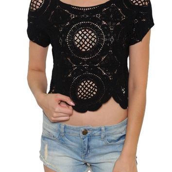 Ethereal Short Sleeve Lace Crop Top - Black