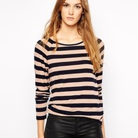 French Connection Cocoa Striped Top