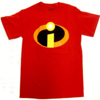 The Incredibles Superhero Logo Disney Pixar Licensed Adult T-Shirt - Red