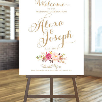 Welcome To Our Wedding Sign Large Poster Blooms Vintage Gold Script