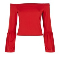 Red Bell Sleeve Bardot Neck Top | New Look