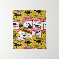 Dinosaur Caution Signs Tapestry