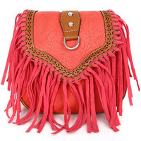 Red Leather Tassels Bag