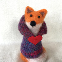 Valentine gift fox valentines day needle felted fox art valentine's handmade Fox dressed heart funny animals felting fox felt OOAK cute cool