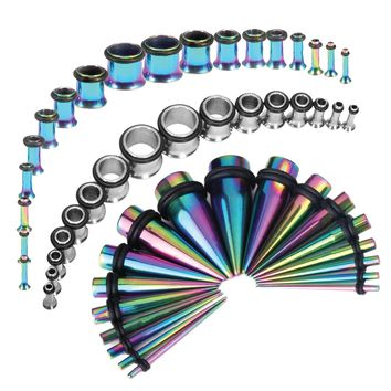 BodyJ4You 54PC Gauges Kit Ear Stretching 14G-00G Multicolor Surgical Steel Taper Plug Body Piercing