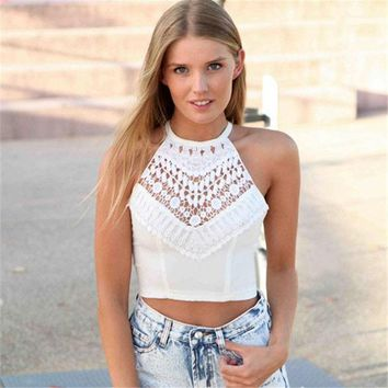 CREYWQA Fashion Sexy Women Cross Spaghetti Strap Hollow Out Crochet Backless Casual Tops Plus Size Crop Top White females