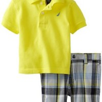 Nautica Baby Boys' 2 Piece Solid Polo Short Set, Firefly, 18 Months