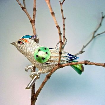 Sterling Mesh Enamel Bird Brooch-Pin Chinese Export, Multicolor Enamel, Vintage