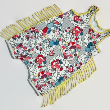Baby Pop Art Flower Fringe Romper