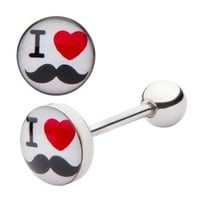 """I Love Mustaches Tongue Barbell Ring 14g 5/8"""""""