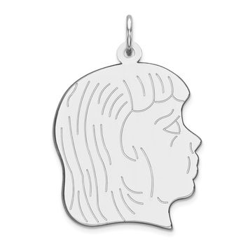 Sterling Silver Engraveable Girl Disc Charm