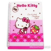 Hello Kitty Hard Cover Spiral Notebook : Strawberry $7.99