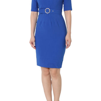 ROSIE Belted Shift Pencil Royal Blue Dress