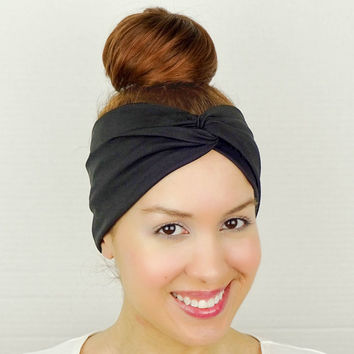 Twist Headband Women's Accessories Black Turban Headband Black Turban Head Wrap Women Turban Wide Headband Black Headband Yoga Headband