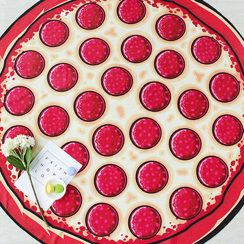 Red Pizza Print Round Beach Blanket