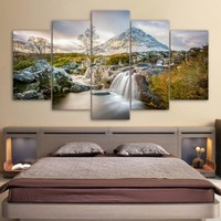 Mountains and Waterfall Summer Nature 5 piece panel panel wall art canvas print