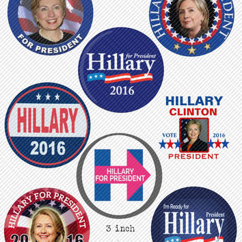 """Hillary Clinton For President Vote Hillary 3"""" Round Circles Bottle Cap Images Button Images Cupcake Toppers Instant Download Digital Emailed"""