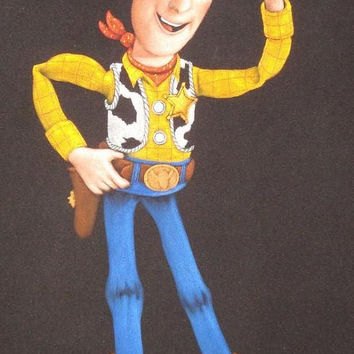 Disney toy story Woody black velvet oil painting handpainted signed art