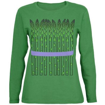 PEAPGQ9 Halloween Vegetable Asparagus Costume Womens Long Sleeve T Shirt