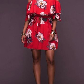 Streetstyle  Casual Red Flowers Print Ruffle Drawstring Backless Off Shoulder Bohemian Mini Dress