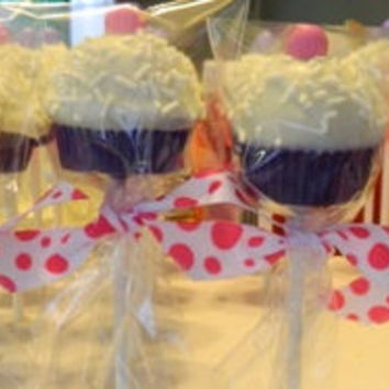 12 Cupcake Cake Pops Birthday Baby Shower Party Favors Sweets Table Candy Buffet Princess