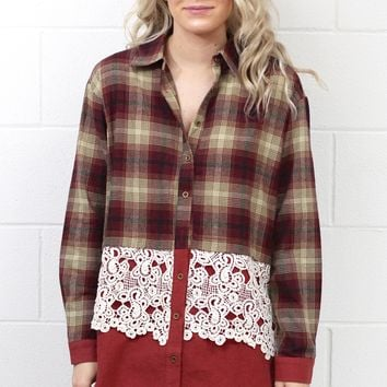 Mix of Plaid + Lace Button Down {Burgundy Mix}