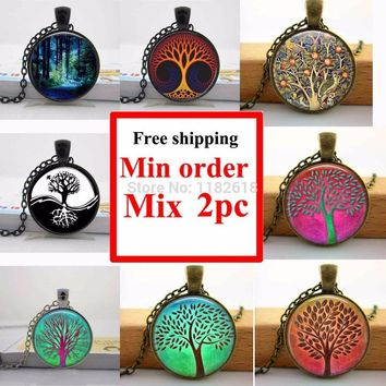 Tree of Life Pendant Necklace,Handmade Vintage Yin-Yang Custom Personalized Long Necklace,My Orders Fashion Jewelry