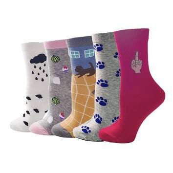 Puppies Middle Finger Animals Socks Funny Crazy Cool Novelty Cute Fun Funky Colorful