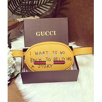 GUCCI Popular Unisex Leather Waist Bag Single-Shoulder Bag Crossbody Satchel Purse Yellow