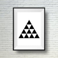 Black And White Wall Art, Triangle Print,  Minimalist Art Print, Modern Artwork, Printable Wall Art Decor, Modern Art Poster,  Geometric Art