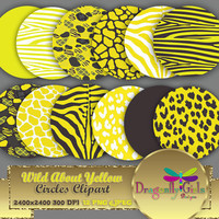 "80% OFF Sale WILD About Yellow 8"" Clip Art, commercial use, digital scrapbook papers, vector graphics, printable, Instant Download"