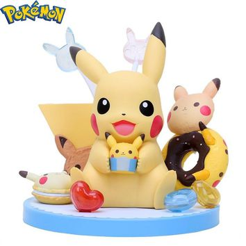Pikachu Tea Party with Cupcake Doughnut Sugar Cute PVC Action Figure Model Toy 12-14cmKawaii Pokemon go  AT_89_9