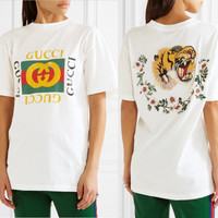 Gucci Back Embroidery Tiger Flowers T-Shirt Top Tee