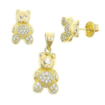 Gold Layered 10.199.0051 Necklace and Earring, Teddy Bear Design, with White Micro Pave, Polished Finish, Golden Tone