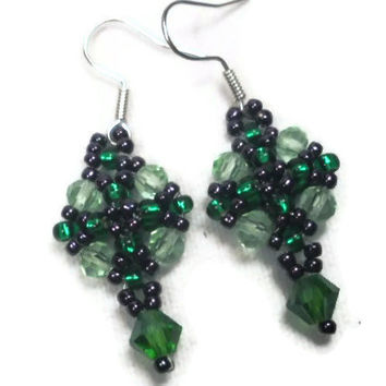 Emerald Green Beadwoven Earrings