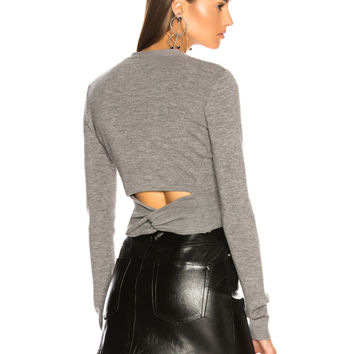 T by Alexander Wang Twist Back Cardigan in Heather Grey | FWRD