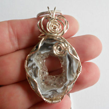 Wire Wrapped Druzy, Necklace, Jewelry, Geode Agate Pendant