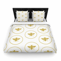 """Jennifer Rizzo """"Busy As A Bee White And Maize"""" Yellow Nature Woven Duvet Cover"""