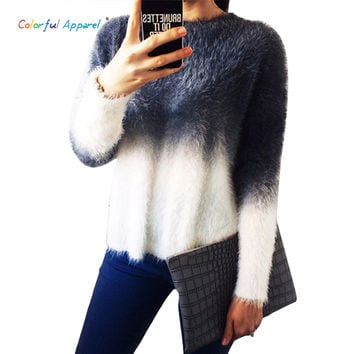 Colorful Apparel 2015 autumn winter cashmere sweater women fashion  O-neck sweater loose fluffy wool women sweaters CA117A