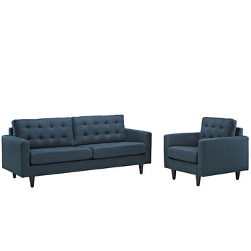 Empress Deeply tufted Upholstered Armchair and Sofa Set of 2
